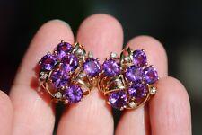 14k Yellow Gold SC 5mm Round Cut Purple Amethyst Diamond Accent Earrings 8.9g