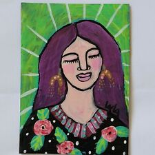 ORIGINAL ACEO Folk Art Girl Lady Woman Flower Floral Leaf Botanical Dress Gypsy