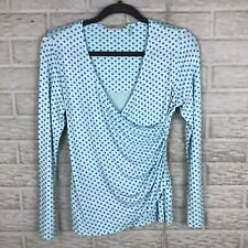 Soft Surroundings Womens Faux Wrap Top PXS Polka Dot Blue Stretch Long Sleeve