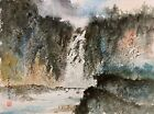 Signed Original CHINESE WATERCOLOR & INK LANDSCAPE w/ WATERFALL PAINTING