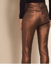 Soft Surroundings Bronze Metallic Jeans Pants 12 Shiny Copper Ankle