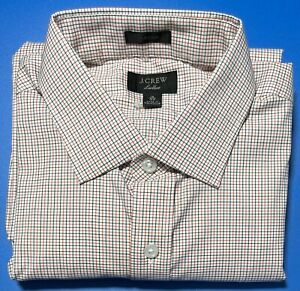 15 x 34 J CREW Ludlow Stretch Classic Fit Dress Shirt Persimmon Blue Check H4849