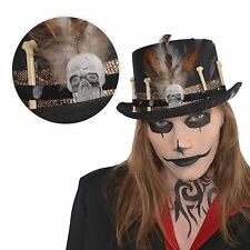 Adultos médico brujo Voodoo Top Hat Magia Fancy Dress Cráneo Huesos Halloween UK