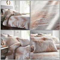 Rose Gold Duvet Cover Shimmer Quartz Textured Jacquard Quilt Covers Bedding