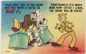 WWII Army Comic Linen Postcard Your First Day in the Army and You Want a Raise