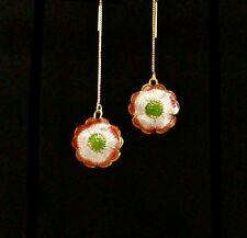 *IAJ* CORAL & WHITE CLOISSONE PUFFY FLOWER w/14k GOLD VERMEIL Threader Earrings