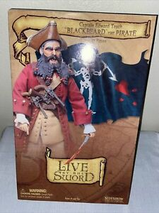 "BLACKBEARD THE PIRATE 12"" Figure Live By The Sword Edward Teach Sideshow MIB 1/6"