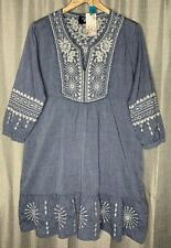 Johnny Was Ciro Boho Dress Floral Embroidered Cotton Chambray Blue M Chic