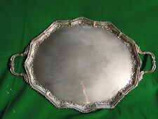Medium Tray Silver Plated, English, Bead Border, Engraved Face Fancy Style C1870