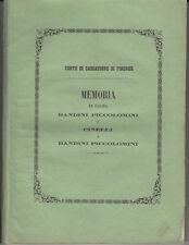 DIRITTO CAUSA BANDINI PICCOLOMINI CONTRO CINELLI 1877 SIENA AREZZO CORTONA
