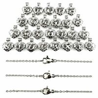 Silver Tone 26 Letter Alphabet Pearl Beads Cage Locket Pendant Necklace Charms K