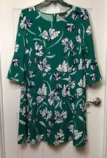 Jessica Howard Woman's Plus Size 18W Green Floral A-Line Dress Bell Sleeves NEW