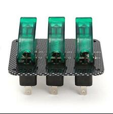 Universal Carbon Fiber Car Engine Start Ignition 3 Toggle Switch Panel LED Light