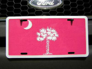 "South Carolina SC Pink & White 6""x12"" Aluminum License Plate Sign"