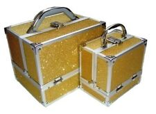 New Sparkly Gold 2 Piece Beauty Makeup Vanity Case Box Hair Nails Jewellery