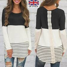 Womens Lace Pullover Longline Tops Blouse Plus Size Ladies Long Sleeve T-Shirts