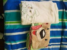 Baby's towel winnie pooh Green and white towel with a rabbit on for boys