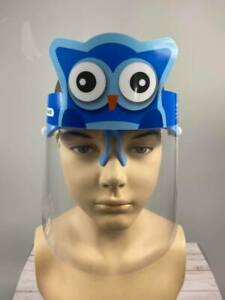 1PC Safety Owl Boys Face Shield Reusable Washable Protection Cover for Kid- Blue