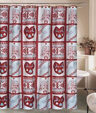 Christmas Rustic Deer Snowflake Shower Curtain 12 Shower Hooks Holiday Winter
