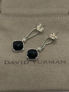 David Yurman Sterling Silver Black Onyx Cushion on Point Diamond Chain Earrings