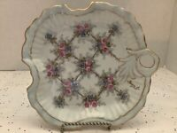 Vintage, Vanity Tray/Trinket Plate With Flower Design And Gilt/Gold Rim 7 1/2""