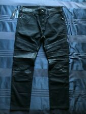 Diesel Sleenker Black Sheepskin Leather Patch Moto Jeans 33 Waist $278 NWT