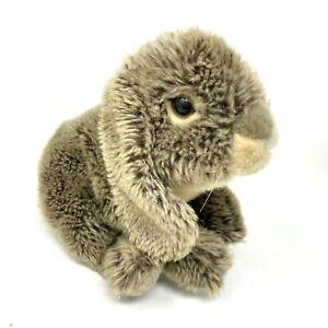 "Toys R Us Plush Bunny Rabbit Realistic Gray Cream Brown Stuffed Animal 11"""
