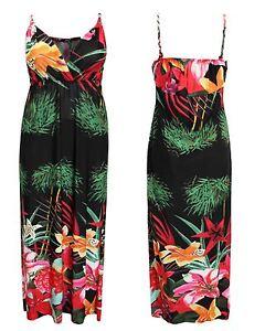 Ladies Womens Halter Neck Floral Print Summer Beach Dress Long Maxi Dress 8-14
