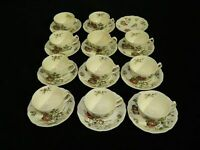 """Set of 11 Vintage Johnson Brothers """"Day in June"""" Cups & Saucers Made in England"""