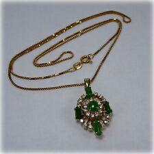 "9ct Gold Cabochon cut Emerald and Diamond Pendant on 19"" Gold Chain"
