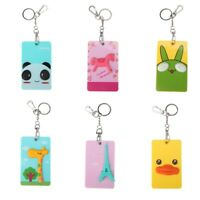 Lovely 3D Cartoon Bus Card Cover ID Credit Card Holder Badge Case With Key Chain