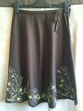 H&M brown embroidered A-line skirt UK 6 EUR 34 100% cotton worn couple of times