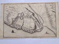 Blaye in 1655 Gironda Aquitaine Stampa Vintage Rame Topographia Gallia