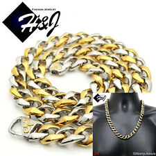"""24""""MEN Stainless Steel  HEAVY 13x5mm Gold Silver Cuban Curb Chain Necklace*GN136"""