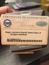 MAGIC JOHNSON Autographed Lakers, Dodgers MLB Game Used Baseball Steiner
