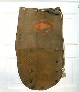 "Vintage GOOD-LUCK ENTERPRISES ""STA-LIVE"" Heavy Canvas Drawstring Fish Bag"