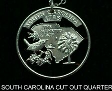 South Carolina Cut Coin Necklace 25¢ SC Quarter Palmetto State Cut Coins jewelry