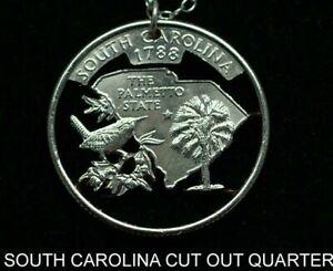 South Carolina Cut Coin Necklace 25¢ SC Quarter Palmetto State Cut Coins jewelry