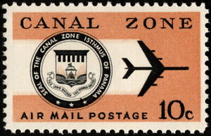 Canal Zone - 1968 - 10 Cents Jet Plane & Canal Zone Seal Airmail Issue #C48 NH