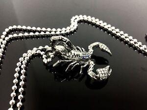 14K Black Gold Scorpion Pendant White & And Black Diamonds Blua Sapphires & Ruby