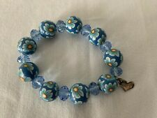 Bracelet Signature Charm From Italy New Sara Handpainted Blue Floral Beads