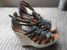 Bertie  UK 7 ,  Shoes, Black SOFT  LEATHER STRAPY, HIGH  WOVEN  Wedge Sandal