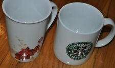 Starbucks Mugs Lot Of 2 Cups 12oz. Microwave Safe Collectible White Handles