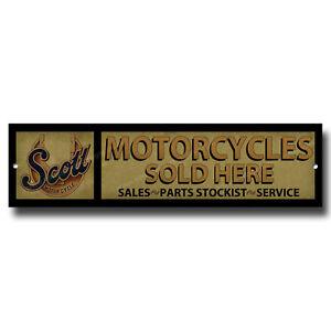 "SCOTT MOTORCYCLES SOLD HERE METAL SIGN,GARAGE SIGN,WORKSHOP SIGN.12"" X 3""."