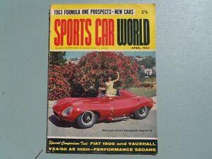 SPORTS CAR WORLD MAGAZINE APRIL 1963 FIAT1500 VAUXHALL VX 4/90 SIMCA 1000 COUPE