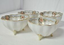 "4 Nippon 3"" Footed Master Salts Pink Flowers Blue Gold Bead Small Bowl Salt Set"