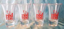 Set of 4 Red Stag Whiskey by Jim Beam Tall Shot Glasses ~ New