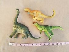 Vintage Lot Of 3 Rubber/Plastic Toy Dinosaurs - Brachiosaurus Allosaurus