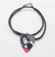 """AMY WINEHOUSE guitar pick plectrum braided twist LEATHER NECKLACE 20"""""""