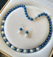 8mm Blue/white South Sea Shell Pearl necklace AAA 18 inches Earring Set K32